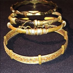 (4) Unique Gold Toned Handmade Bracelet Set